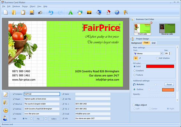 Click to view Business Card Maker 6.0 screenshot