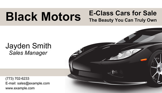 Car business card with image