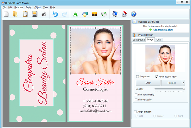 Making double-sided business cards for cosmetologists