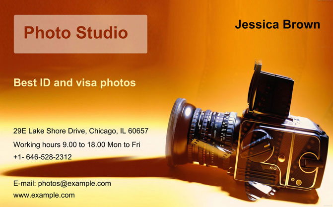 business card idea for a studio