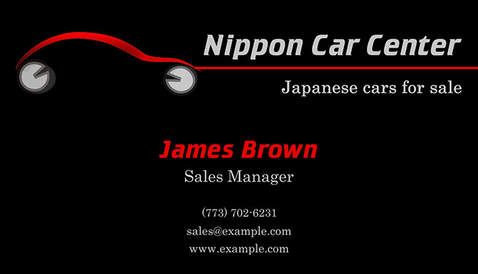 Car dealer business card with logo